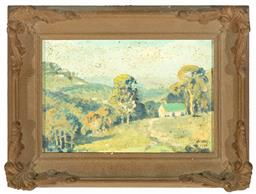 Sale 9199J - Lot 66 - M. Moodie, (Working 1917 - 1950) - Rural Scene with Cottage framed size 21cm x 30cm