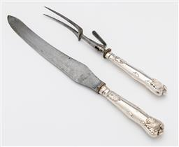Sale 9245R - Lot 49 - A pair of antique English silver plate carving knife and fork C: 1890, knife L: 35cm
