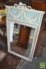 Sale 8335 - Lot 1088 - Louis XVI Style Painted Mirror, in green & white, of rectangular form surmounted by a festoons frieze & ribbon (damage to ribbon)