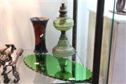 Sale 8346 - Lot 72 - Moorcroft Vase (AF) with Other Wares incl a Green Glass Kerosene Lamp