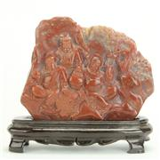 Sale 8393B - Lot 27 - Shoushan Stone Carving on a Timber Stand