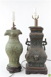 Sale 8586 - Lot 79 - Bronze Oriental Lamp Bases (2)