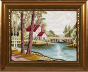 Sale 8804A - Lot 188 - A framed hand worked tapestry depicting a pastoral house by a bridge, 30 x 40cm
