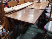 Sale 8868 - Lot 1029 - French Walnut Dining Table, with different single oak extension & a drawer to the other side, on square tapering legs