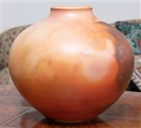 Sale 8963H - Lot 36 - A studio pottery vase with brown swirls and splashes, Height 33cm (felt to base)