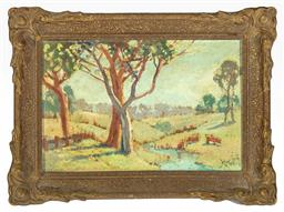 Sale 9199J - Lot 67 - M. Moodie (Working 1917 - 1950) - Rural Scene with Cattle by a Stream framed size 21cm x 30cm