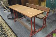 Sale 8418 - Lot 1082 - Twin School Desk on Iron Base