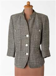 Sale 8550F - Lot 84 - A single breasted Marina Rinaldi jacket with beige and black cross hatch pattern, with metal buttons, size S.