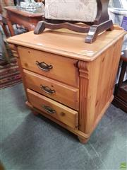 Sale 8593 - Lot 1088 - Three Drawer Bedside