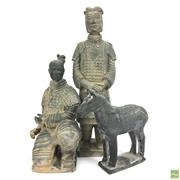 Sale 8652W - Lot 25 - Terracotta Warrior Statue Together with Another and Horse Figure