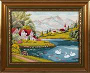Sale 8804A - Lot 190 - A framed hand worked tapestry depicting alpine village, 30 x 40cm