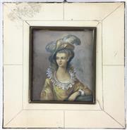 Sale 8995H - Lot 11 - A miniature portrait of a woman, signed Colz, total size height 15cm, width 14cm