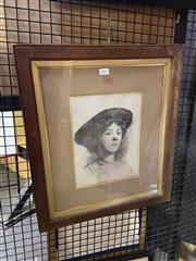Sale 8924 - Lot 2063 - Artist Unknown - Sketch of a Woman lithograph, 52 x 45cm, signed and dated lower centre -