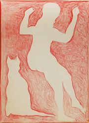 Sale 9013 - Lot 544 - Charles Blackman (1928 - 2018) - Girl & Cat 72.5 x 52.5 cm (frame: 88 x 68 x 4 cm)
