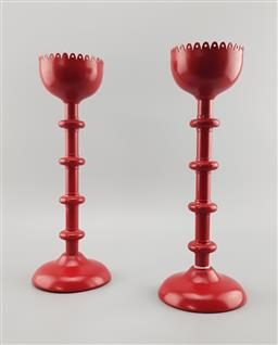 Sale 9134 - Lot 1055 - Pair of vintage IKEA blood red cast metal candle holders with original makers mark to base (h:33cm)