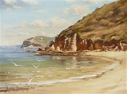 Sale 9170A - Lot 5062 - BRIAN BAIGENT (1929 - 2000) Maitland Bay, 1974 oil on board 29 x 39 cm (frame: 43 x 53 x 4 cm) signed and dated lower left