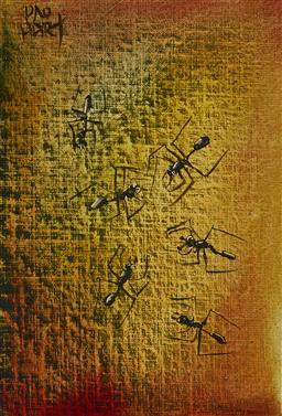 Sale 9195 - Lot 533 - KEVIN CHARLES (PRO) HART (1928 - 2006) Ants oil on book cover (painted on hard cover of signed copy of Undiscovered Pro Hart) 30.5 ...
