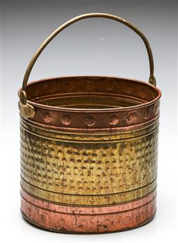 Sale 9246 - Lot 59 - A beaten copper and brass coal bucket (H:27.5cm - body)