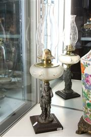 Sale 8322 - Lot 34 - Kerosene Lamp with a Figural Base