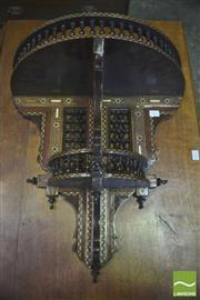 Sale 8390 - Lot 1047 - Large Moorish Style Wall Bracket, with marquetry, turned gallery top & spindle panels