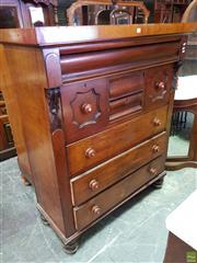 Sale 8576 - Lot 1095 - Late 19th Century Cedar Chest of Eight Drawers, with carved brackets & turned feet