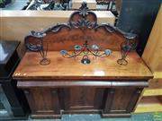 Sale 8601 - Lot 1470 - Victorian Mahogany Sideboard, with carved shaped back, three frieze drawers & three panel doors (H: 156 W: 152 D: 53cm)
