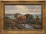 Sale 8652A - Lot 5011 - K Toft (C20th) - Hauling the Hay 60 x 90cm