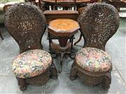 Sale 8666 - Lot 1004 - Near Pair of 19th Century Anglo-Indian Possibly Teak Chairs, profusely pierced & carved with foliate designs & animal medallions, th...