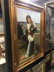 Sale 8690 - Lot 2029 - A Claudie - Two Maidens by the Waterwell, oil on canvas, 114 x 84cm (frame size), signed lower right