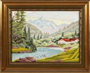 Sale 8804A - Lot 189 - A framed hand worked tapestry depicting alpine countryside, 30 x 40cm