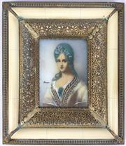 Sale 8995H - Lot 12 - An ivory and filigree miniature of a woman, signed Herrno, height 17cm, width 15cm