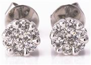 Sale 8937 - Lot 364 - A PAIR OF 18CT WHITE GOLD DIAMOND CLUSTER STUD EARRINGS; each set with 7 round brilliant cut diamonds, total diamond wt. approx. 0.3...