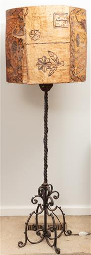 Sale 8976H - Lot 78 - A Spanish style wrought Iron standard lamp with handmade parchment shade covered with a tapa cloth. Total Height 175cm
