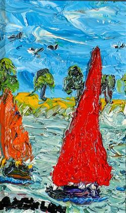Sale 9093A - Lot 5043 - Evan Mackley (1940 - 2019) - Sailing at Two 16 x 10 cm (frame: 42 x 36 x 3 cm)