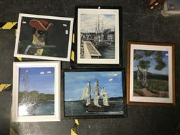 Sale 9113 - Lot 2048 - John Colbert ( 5 works) Maritime & Country Side Scenes acrylic on canvas board, frame: 44 x 34 each (approx), each signed -