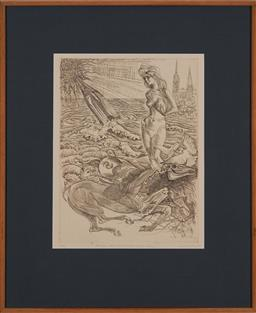 Sale 9161A - Lot 5099 - LOUIS KAHAN (1905 - 2002) - Fantasy about Dead Horse & Fast Woman, 1976 49.5 x 37.5 cm (frame: 89 x 70 x 3 cm)
