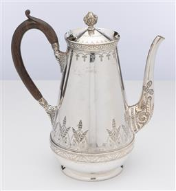Sale 9245R - Lot 52 - Excellent quality antique Hardy Brothers silverplate coffee pot C: 1890, with embossed and hand engraved decoration, fitted with an ...