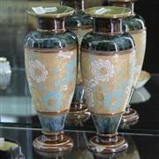 Sale 8336 - Lot 62 - Royal Doulton Slaters Patent Pair of Stoneware Vases (1 Chipped To Base)