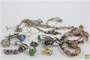 Sale 8490 - Lot 3 - A GROUP OF SILVER JEWELLERY; 2 chain, agate bead necklace, glass bead necklace by Mimco, pearl brooch, 7 pendants, a pearl clasp, 7...