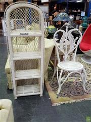 Sale 8629 - Lot 1033 - Painted Cane Bookshelf & Similar Chair