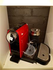 Sale 8668 - Lot 2097 - Red & Black Nespresso Pod Coffee Machine with Accessories
