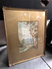Sale 8819 - Lot 2062 - Lionel David - Landscape with River & Gums, watercolour, SLR
