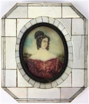 Sale 8995H - Lot 13 - An ivory framed octagonal miniature of a woman, height 14.5cm x width 12.5cm
