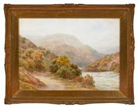 Sale 9080H - Lot 47 - Alfred Powell, RWS, North Wales Landscape with Sheep, watercolour , SLL. 43.5cm x 60cm (minor foxing)