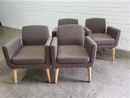 Sale 9092 - Lot 1054 - Set of 4 Meeni Arne Christiansen upholstered chairs for Woodmark International (h:76 x w:52 x d:50cm)