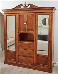 Sale 9090H - Lot 85 - A late Victorian Oak mirrored wardrobe Height 230cm x Width 180cm x Depth 49cm  Provenance: William Farmer, The manager of Sydney...