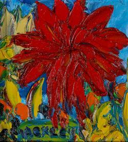 Sale 9093A - Lot 5003 - Evan Mackley (1940 - 2019) - Big Red 14 x 13 cm (frame: 30 x 29 x 3 cm)
