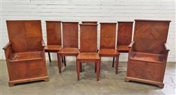 Sale 9097 - Lot 1046 - Set of Eight Early 20th Century Maple Chairs Possibly for Freemasons, including two armchairs with lockable seat chests, all with qu...