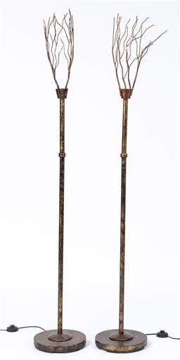 Sale 9130S - Lot 22 - A pair of Doris Kelly metal branch form floor lamps, Total Height 178cm