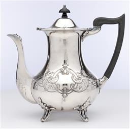 Sale 9245R - Lot 53 - Excellent quality antique English silverplate coffee pot, Cooper Brothers C: 1900, the body hand engraved with scrolling folliates f...